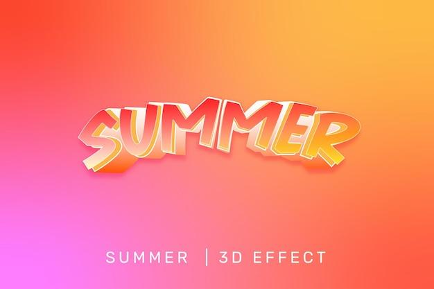 Effet de texte 3d de beauté d'été rose et orang modifier le vecteur