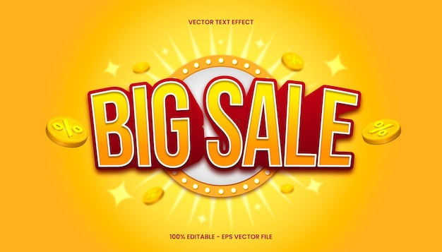 Effet de texte 3d big sale avec thème de couleur jaune et rouge.