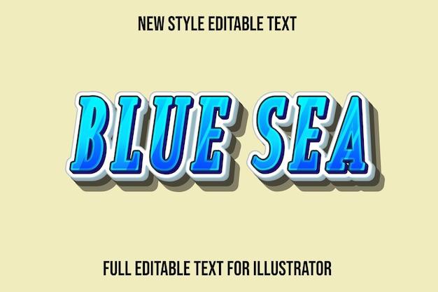 Effet De Texte 3d Bleu Mer Couleur Dégradé Bleu Et Blanc Vecteur Premium