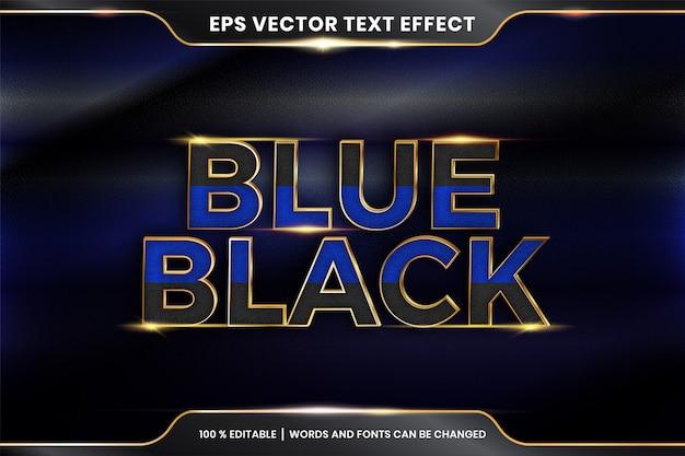 Effet de texte en 3d bleu mots noirs thème effet de texte concept de couleur or métal modifiable