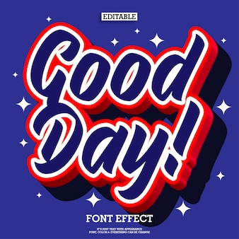 Effet de texte 3d bonne journée pop pour élément de conception d'affiches