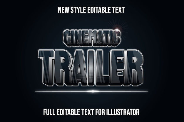 Effet de texte 3d couleur de la bande-annonce cinématique dégradé noir et argent