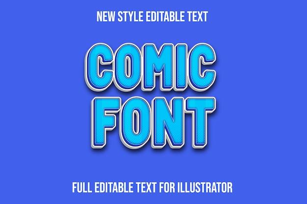 Effet de texte 3d couleur de police de bande dessinée dégradé bleu et blanc