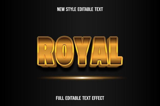Effet de texte 3d couleur royale dégradé or et noir