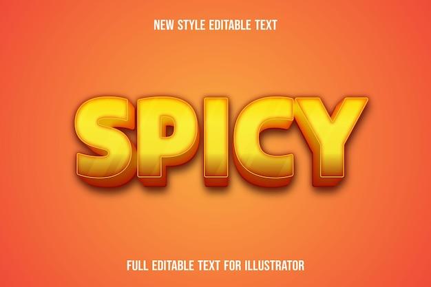 Effet de texte 3d dégradé de couleur épicée jaune et orange