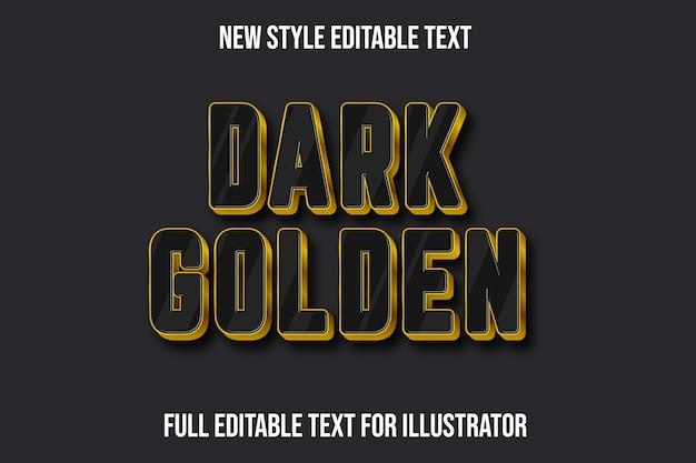 Effet de texte 3d dégradé de couleur or foncé noir et or
