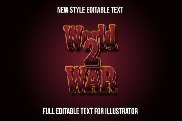 Effet de texte 3d dégradé de couleur rouge et jaune de la seconde guerre mondiale