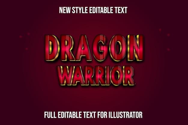 Effet de texte 3d dragon guerrier couleur dégradé rouge et or