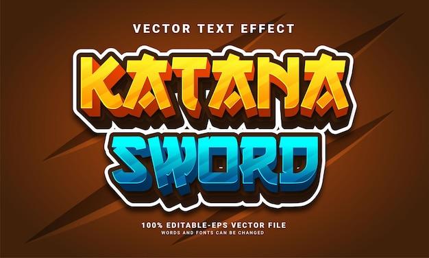 Effet de texte 3d d'épée katana, style de texte modifiable