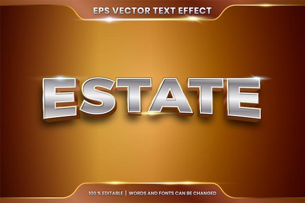 Effet de texte en 3d estate mots thème effet de texte concept de couleur métal or chrome modifiable