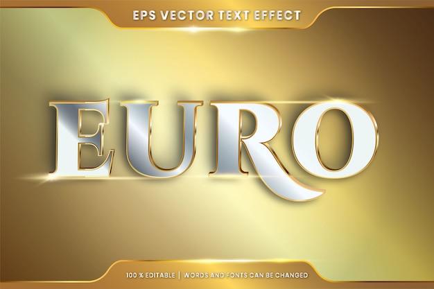 Effet de texte en 3d euro mots thème effet de texte concept de couleur métal or argent modifiable