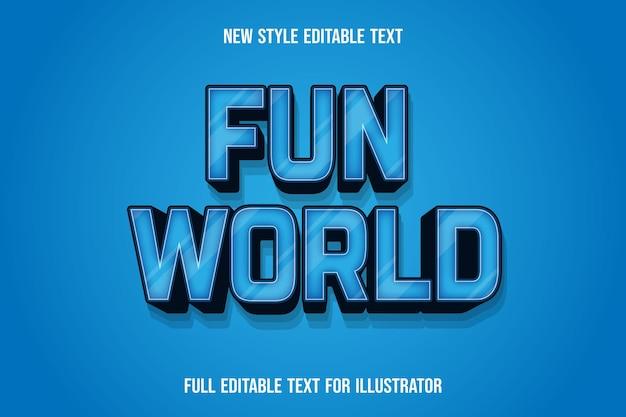 Effet de texte 3d fun world couleur dégradé bleu et noir