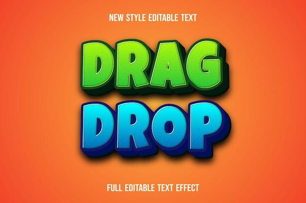 Effet de texte 3d glisser-déposer couleur gren et bleu