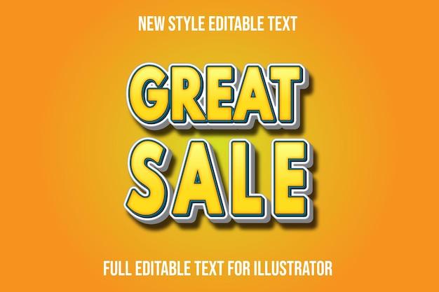 Effet de texte 3d grande vente couleur dégradé jaune et blanc