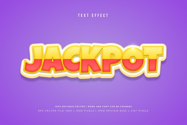 Effet de texte 3d jackpot sur fond violet