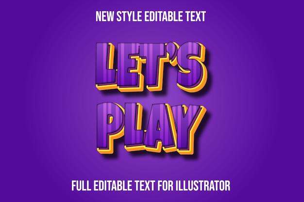 Effet de texte 3d jouons le dégradé de couleur violet et jaune