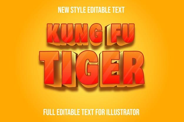 Effet de texte 3d kung fu tigre couleur dégradé orange et jaune