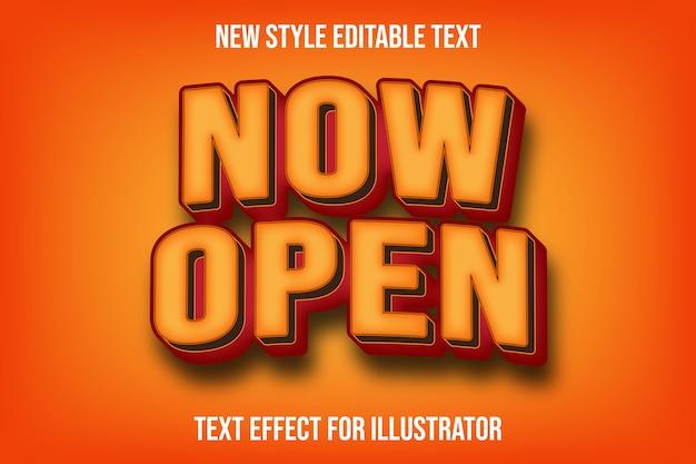 Effet de texte 3d maintenant couleur dégradée ouverte