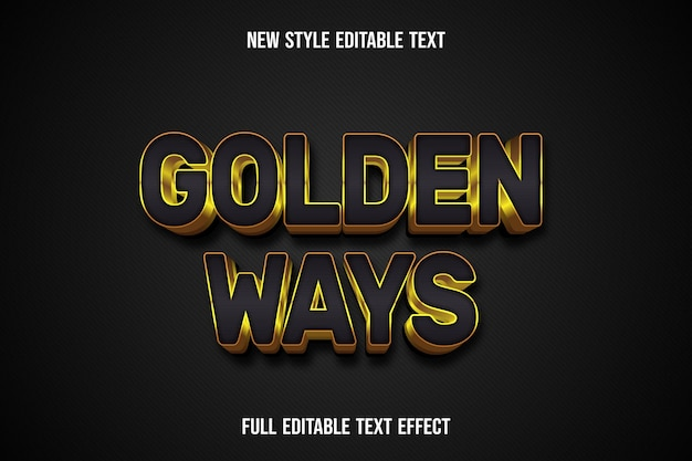 Effet de texte 3d manières dorées couleur noir et or