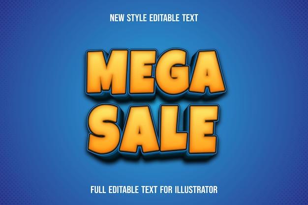 Effet de texte 3d méga vente couleur dégradé jaune et bleu