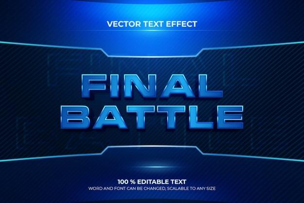 Effet de texte 3d modifiable de la bataille finale avec un style de fond bleu