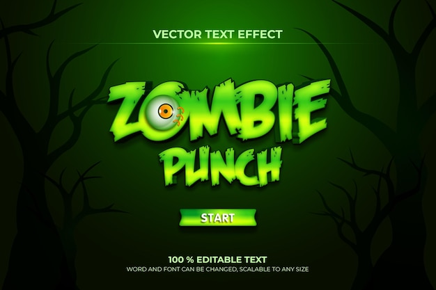 Effet de texte 3d modifiable avec un coup de poing zombie geme avec un style de fond vert foncé