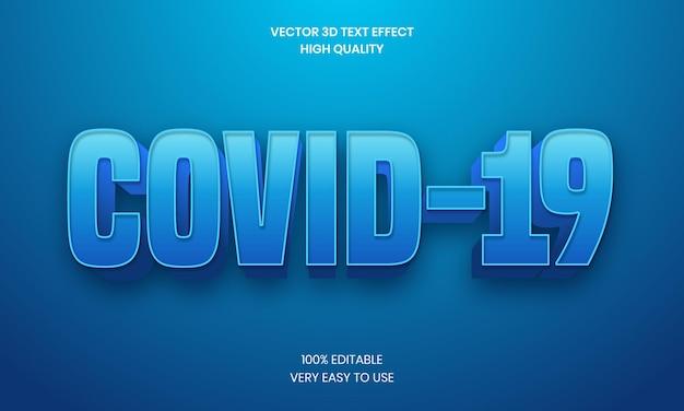 Effet de texte 3d modifiable covid 19 vecteur premium