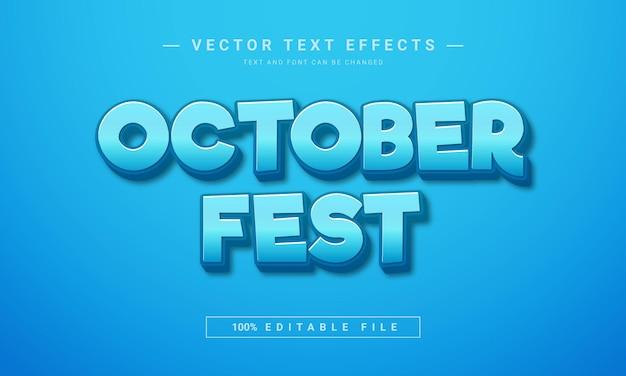 Effet de texte 3d modifiable du festival d'octobre