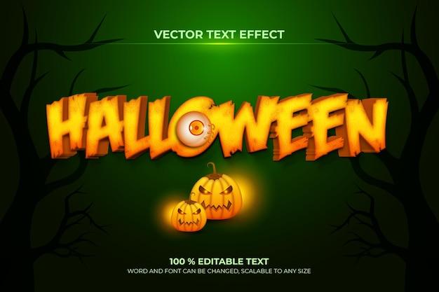 Effet De Texte 3d Modifiable Halloween Avec Style De Fond Citrouille Vecteur Premium