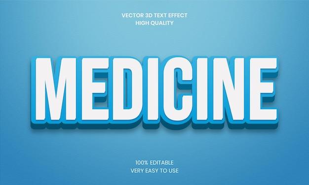 Effet de texte 3d modifiable de médecine vecteur premium