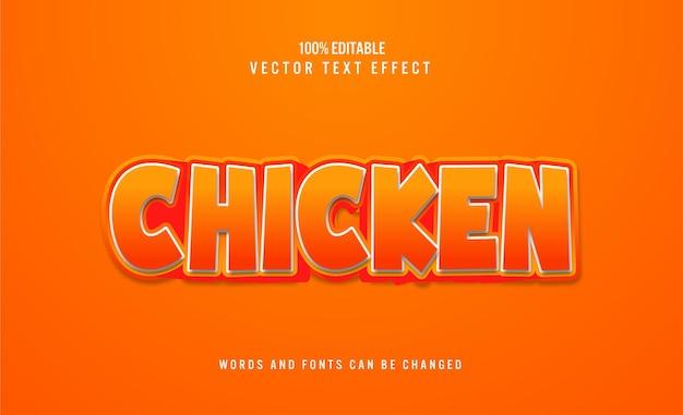 Effet de texte 3d modifiable de poulet