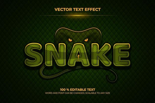 Effet de texte 3d modifiable de serpent avec un style de fond animal