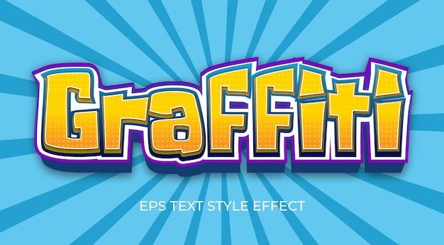 Effet de texte 3d modifiable de style graffiti jaune
