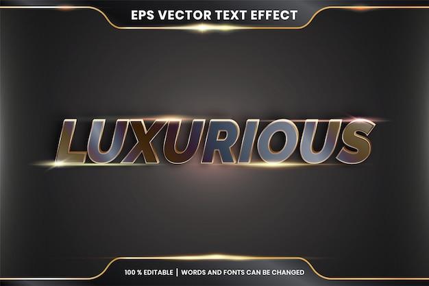 Effet de texte en 3d mots luxueux thème effet de texte concept de couleur bronze métal modifiable