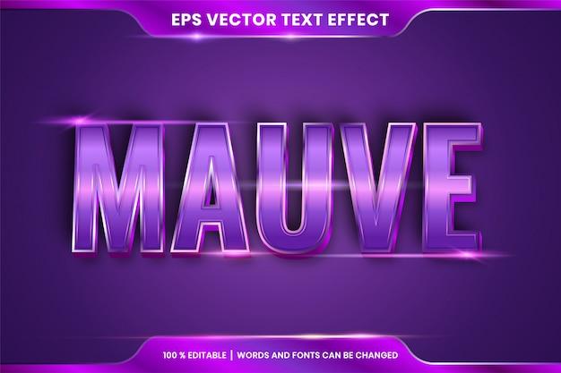 Effet de texte en 3d mots mauves, thème d'effet de texte concept de couleur violet dégradé métallique modifiable