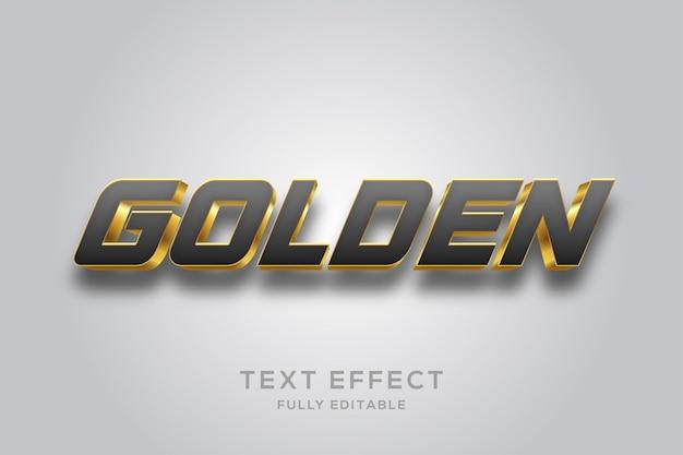 Effet de texte 3d noir et or de luxe