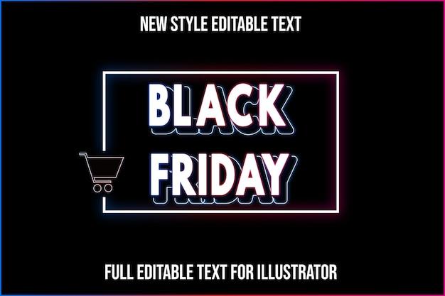 Effet de texte 3d noir vendredi couleur dégradé blanc et noir