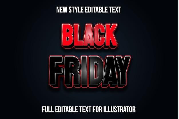 Effet de texte 3d noir vendredi couleur dégradé noir et rouge
