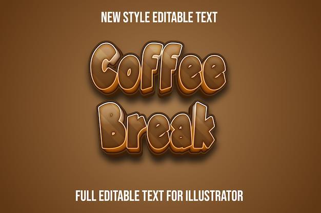 Effet de texte 3d pause café couleur marron dégradé
