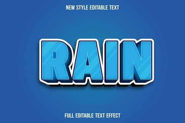 Effet de texte 3d pluie couleur bleu et blanc