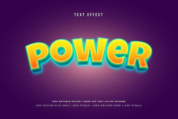 Effet de texte 3d de puissance sur fond violet