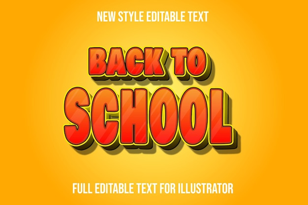 Effet de texte 3d retour à l'école couleur dégradé orange et jaune