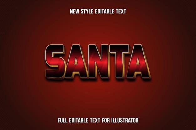 Effet de texte 3d santa couleur dégradé rouge et doré