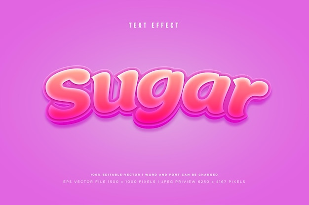 Effet de texte 3d de sucre sur fond rose