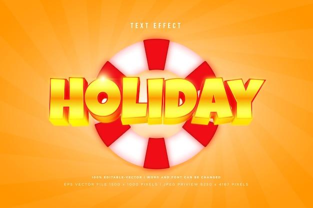 Effet de texte 3d de vacances sur fond orange