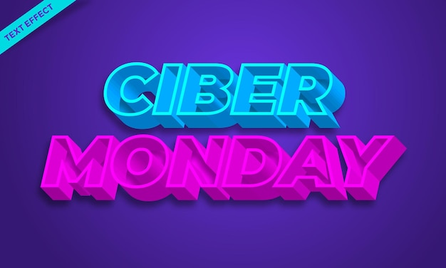 Effet de texte 3d de la vente du lundi ciber