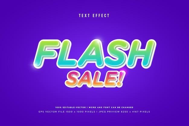 Effet de texte 3d de vente flash sur fond violet