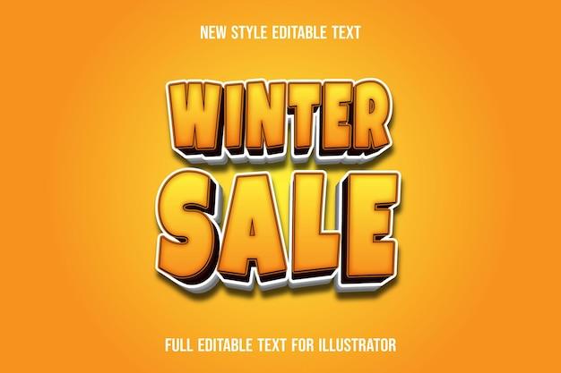 Effet de texte 3d vente d'hiver couleur dégradé jaune et blanc