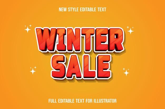 Effet de texte 3d vente d'hiver couleur dégradé orange et blanc