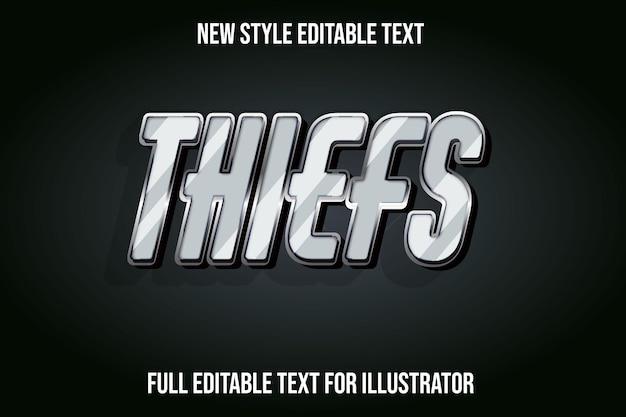 Effet de texte 3d voleur couleur dégradé gris et noir
